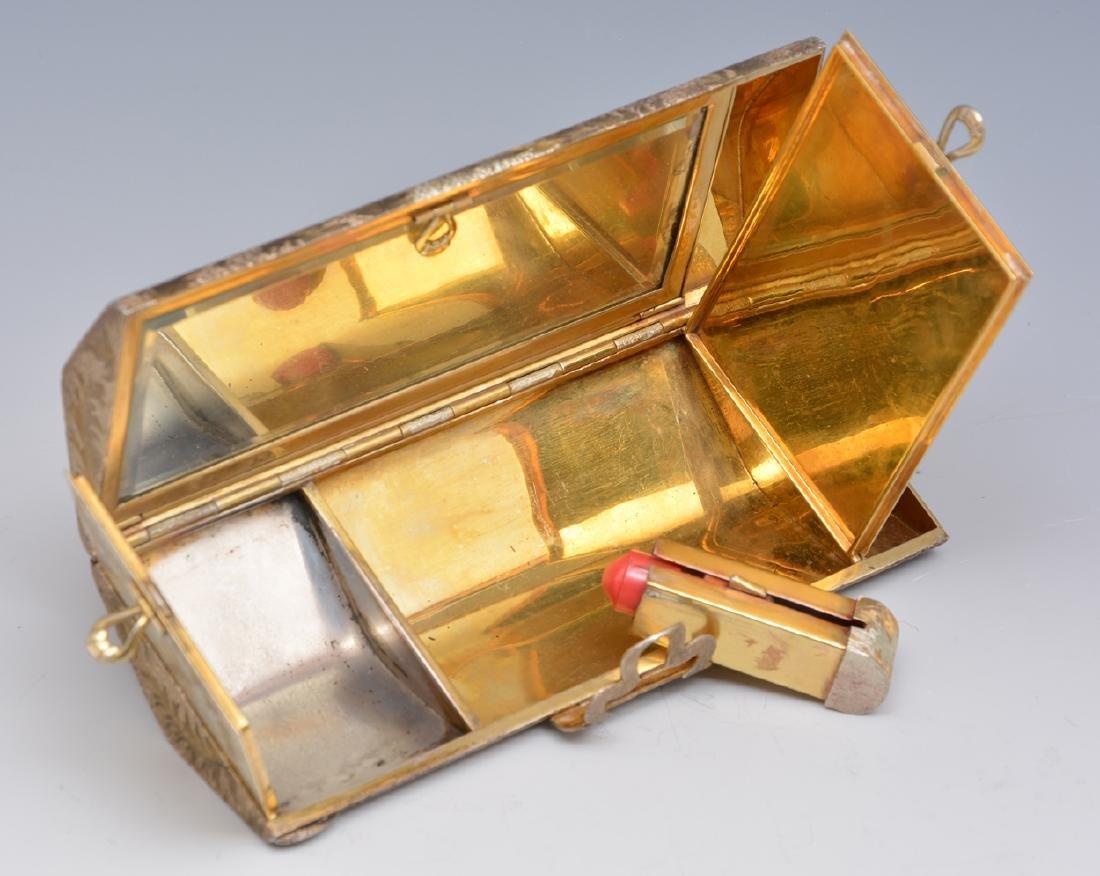 Sterling silver minaudiere vanity purse - 4
