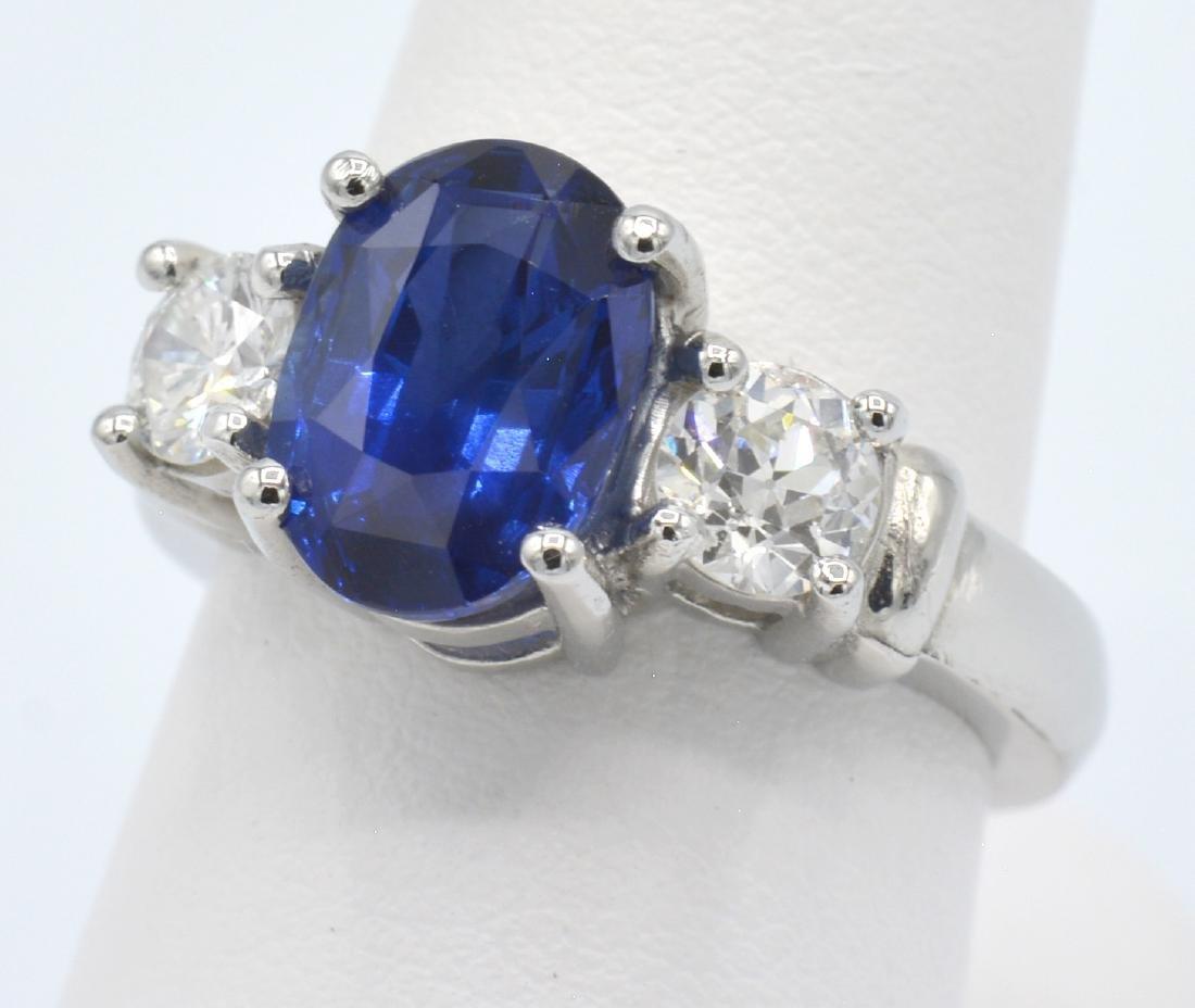 GIA 3.74ct Burma Sapphire, Platinum & Diamond  Ring - 2