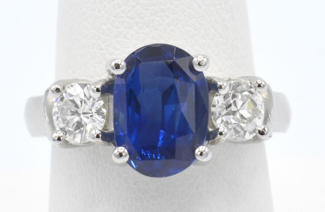 GIA 3.74ct Burma Sapphire, Platinum & Diamond  Ring - 3