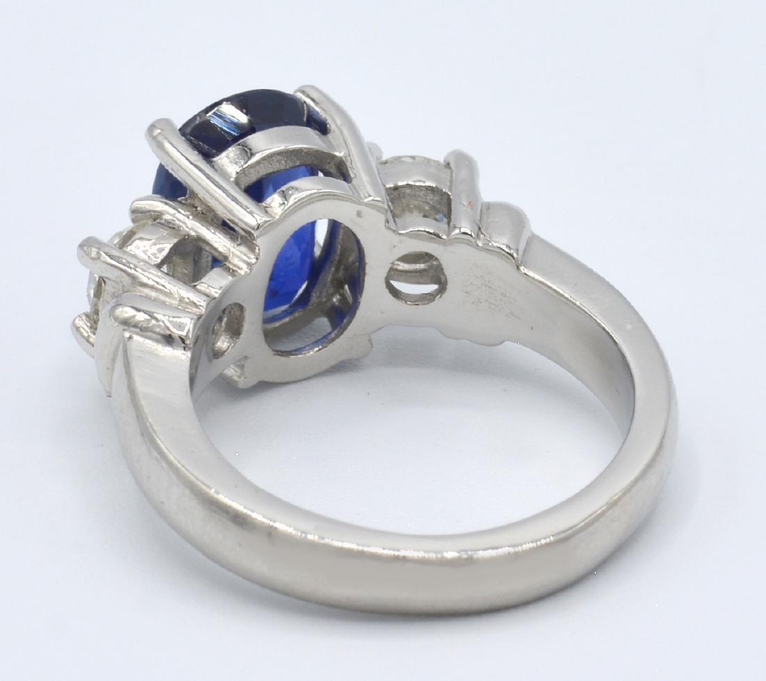 GIA 3.74ct Burma Sapphire, Platinum & Diamond  Ring - 4