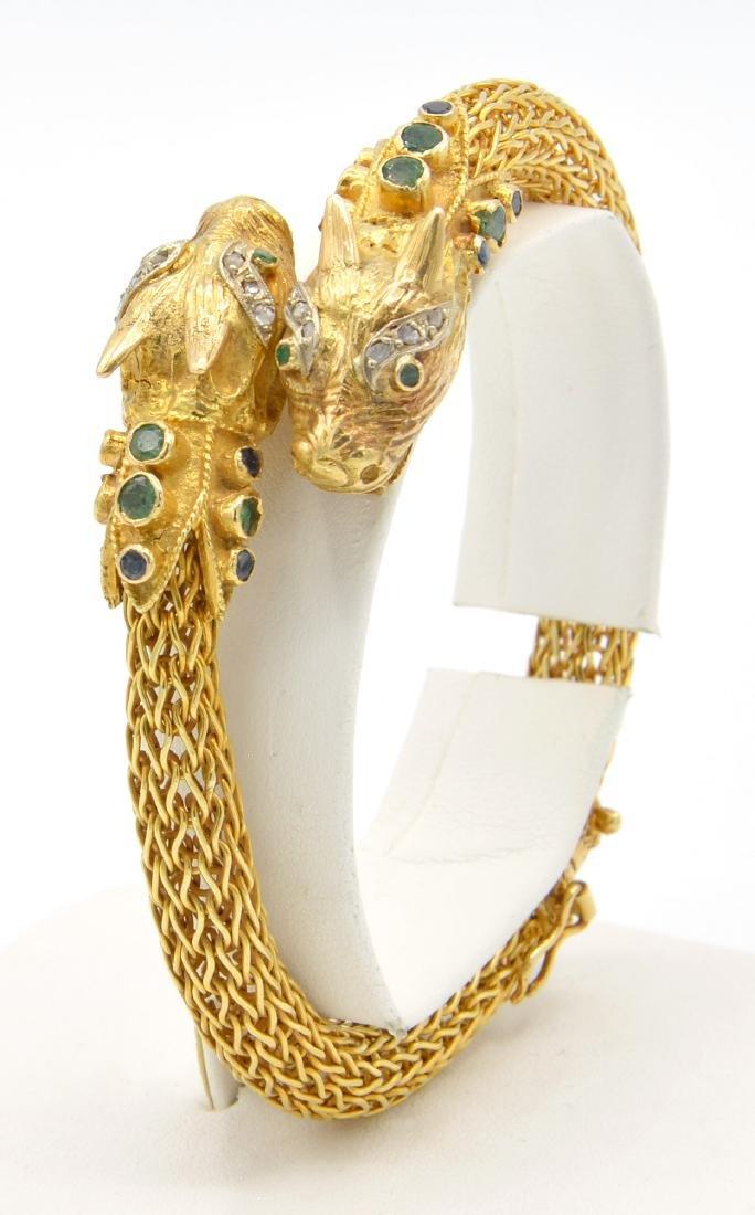 18kyg, emerald, sapphire and diamond dragon bracelet