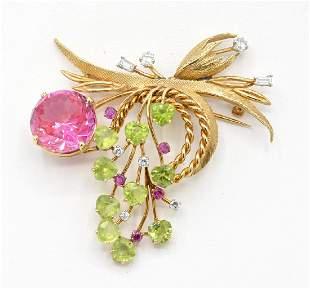 14k gold pink sapphire peridot diamond ruby brooch