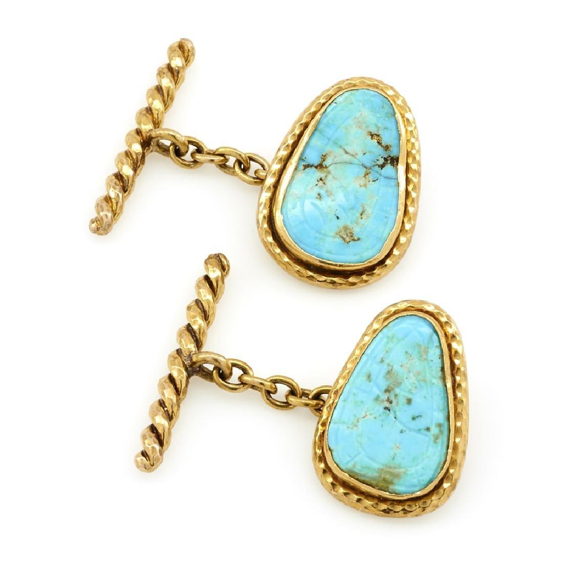 18k Yellow gold turquoise cufflinks