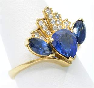 18k three stone sapphire and diamond ring GIA