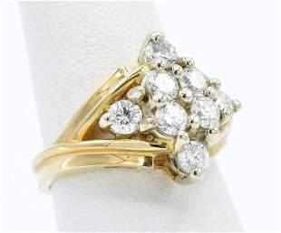 14k Yellow gold diamond ring appx 150 ctw
