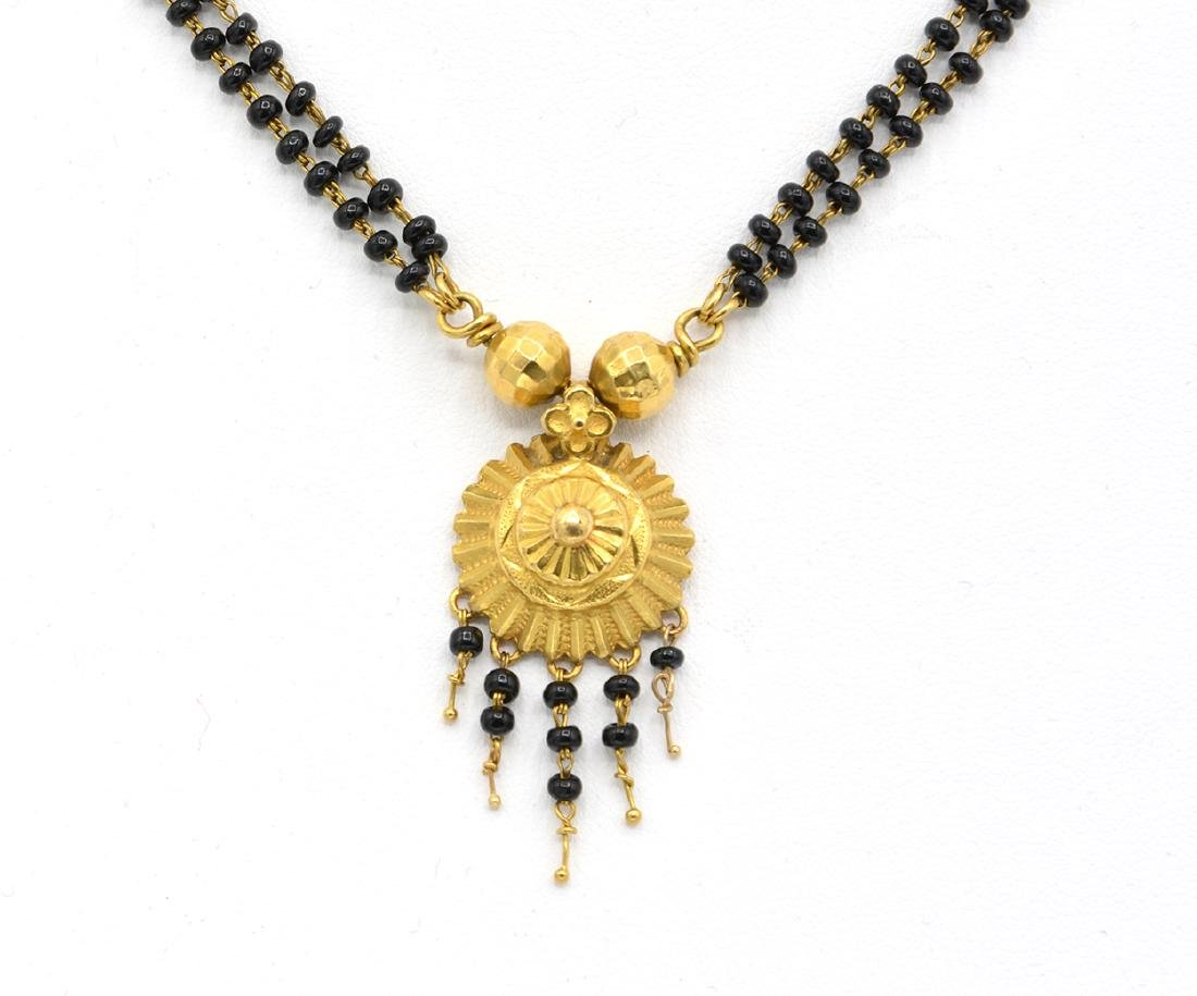 22k Yellow gold and black bead necklace - 2