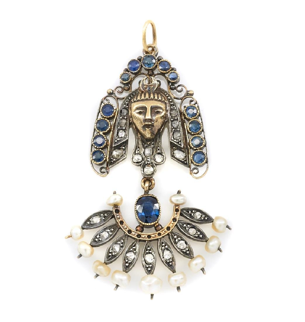 18k gold sapphire and pearl Egyptian pendant