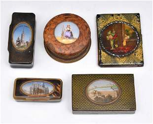5pc Grouping of pictorial treen boxes and notebook