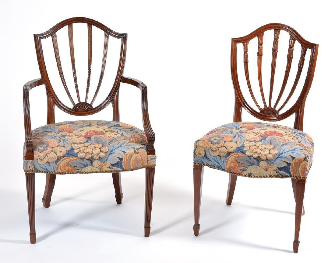 8 English mahogany shield back dining chairs