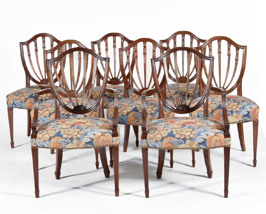 8 English mahogany shield back dining chairs - 2