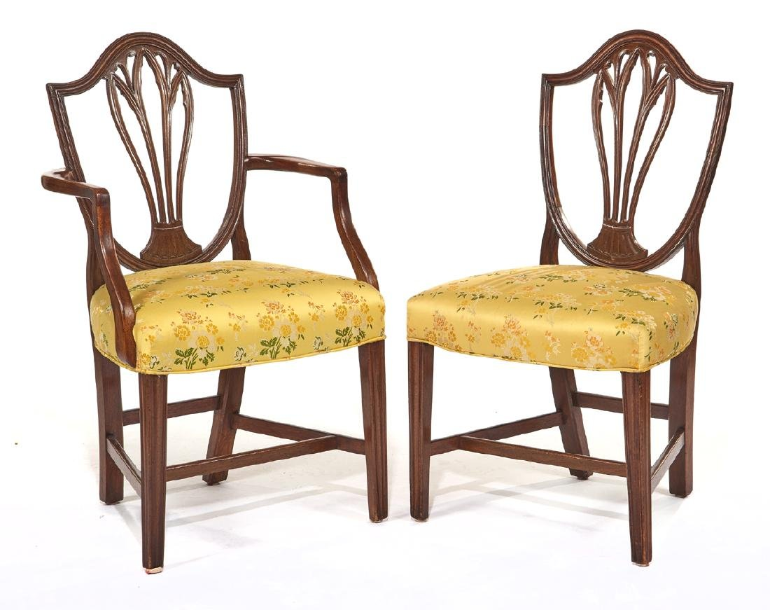 Set of ten George III style mahogany dining chairs - 2