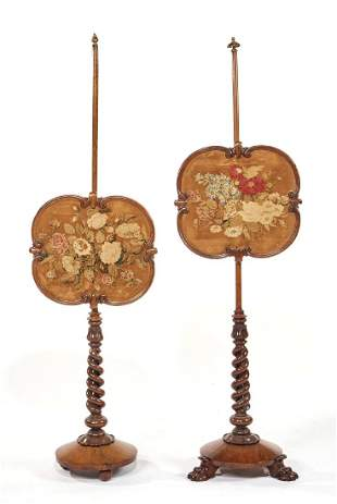 English floral embroidered mahogany fire screens
