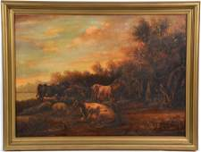 Continental school cows and sheep oil on canvasboard