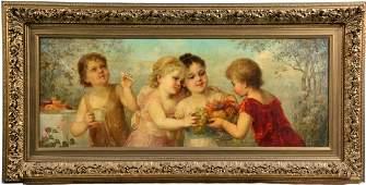 Franz Lefler oil on canvas allegorical courtship scene