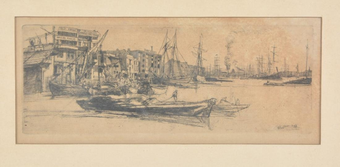 "James McNeill Whistler, ""Thames Warehouses"" Engraving"