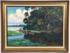 James Hutchinson, Florida Waterway, Seminoles In Canoe