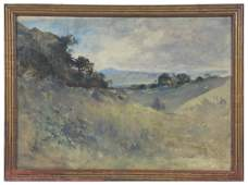 William Keith watercolor, Mt. Tamalpais, Marin County