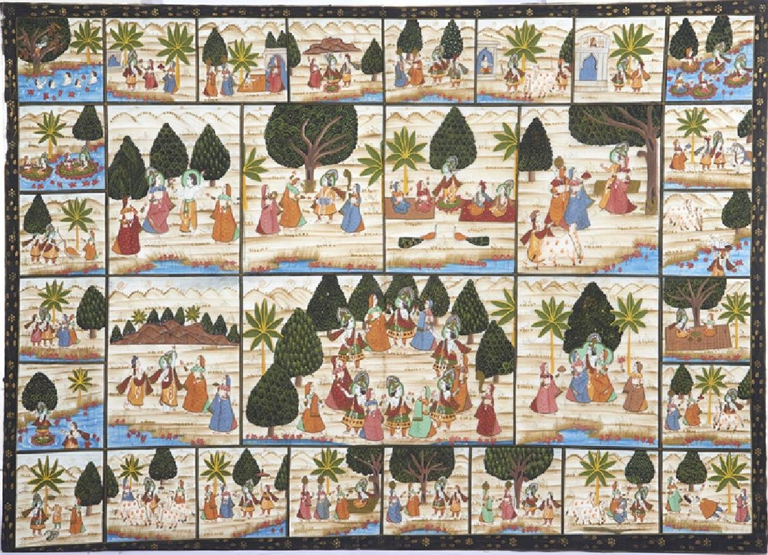 Large Indian painting on silk