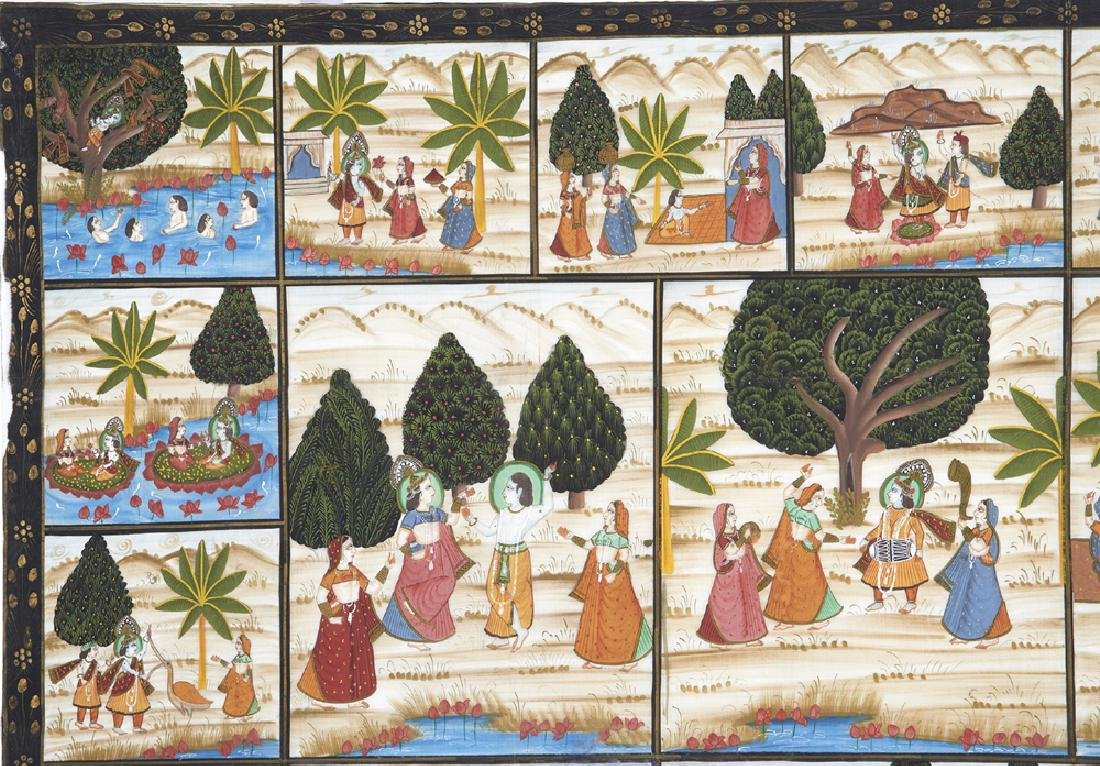 Large Indian painting on silk - 2