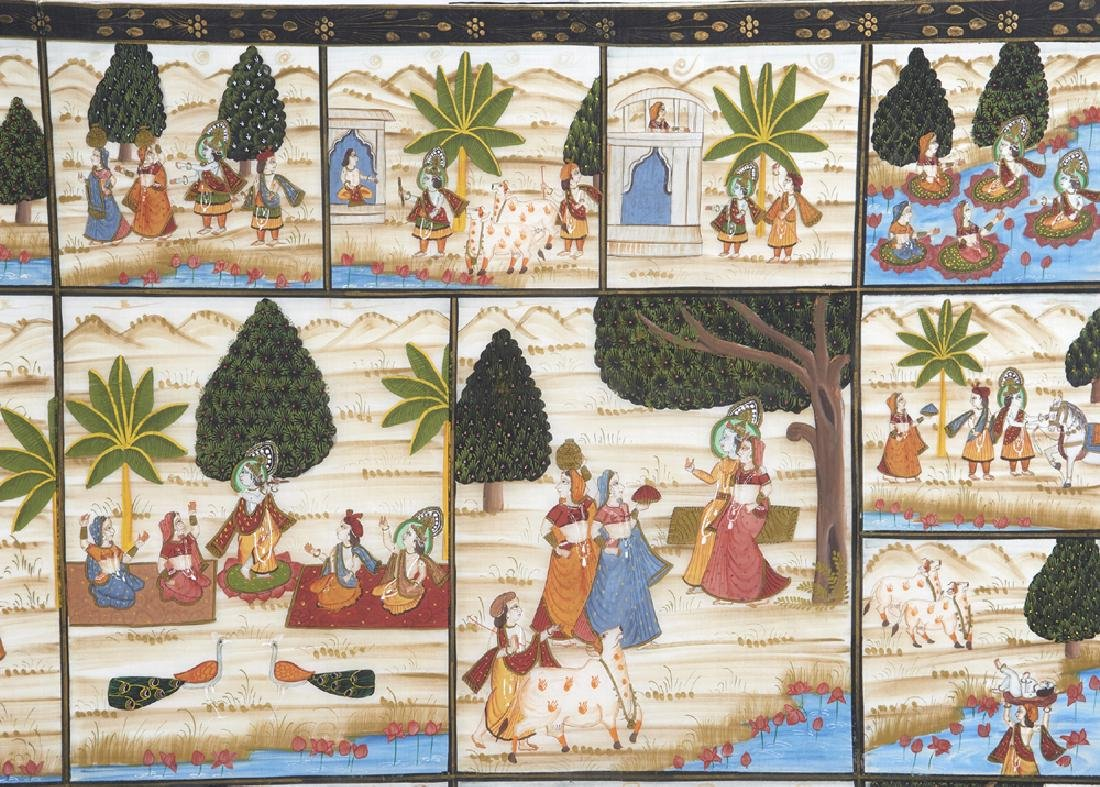 Large Indian painting on silk - 3