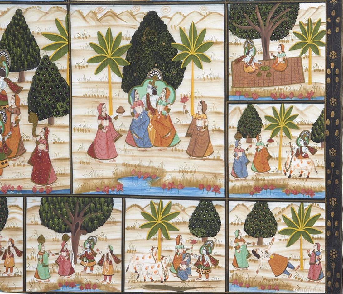 Large Indian painting on silk - 4