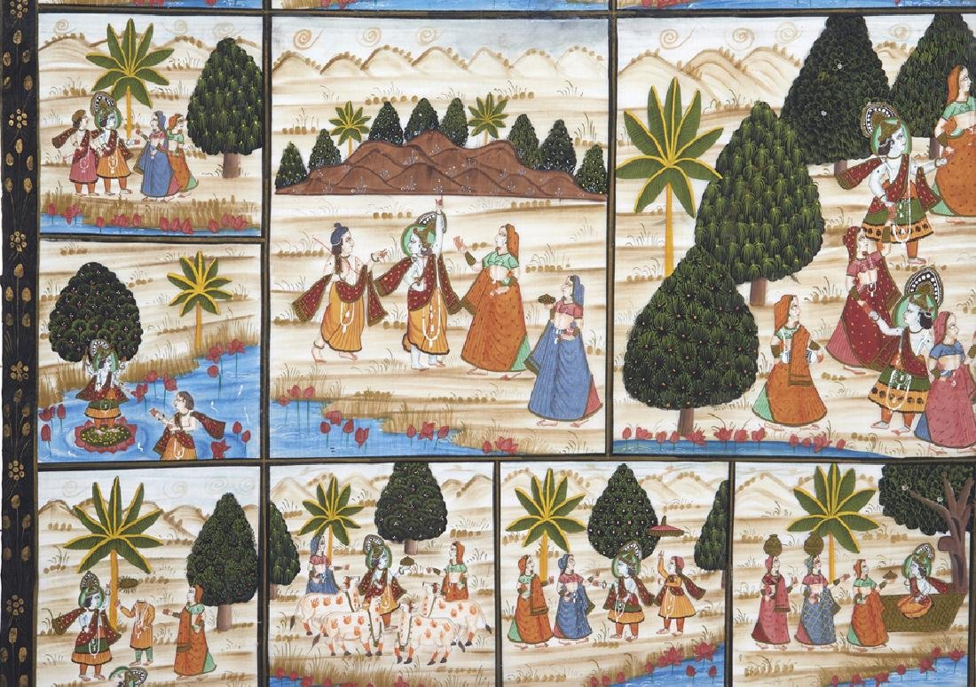 Large Indian painting on silk - 5