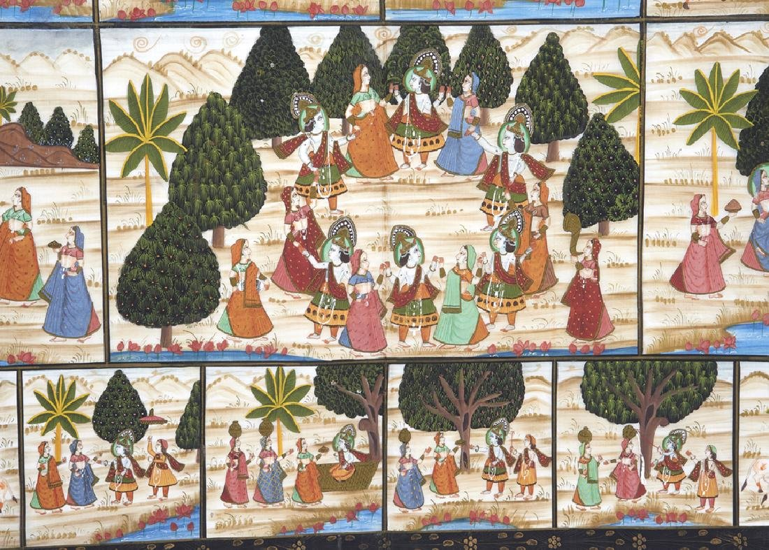 Large Indian painting on silk - 6