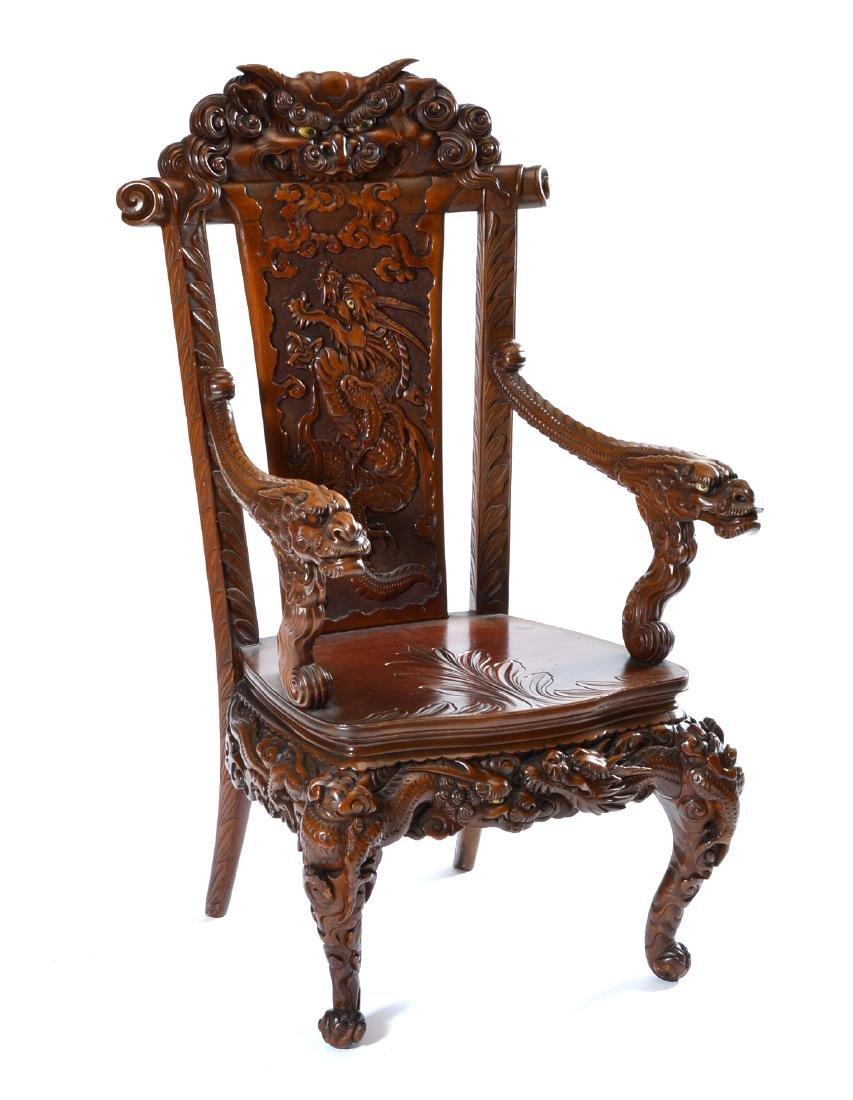 Japanese Tomekichi Suzuki carved dragon chair
