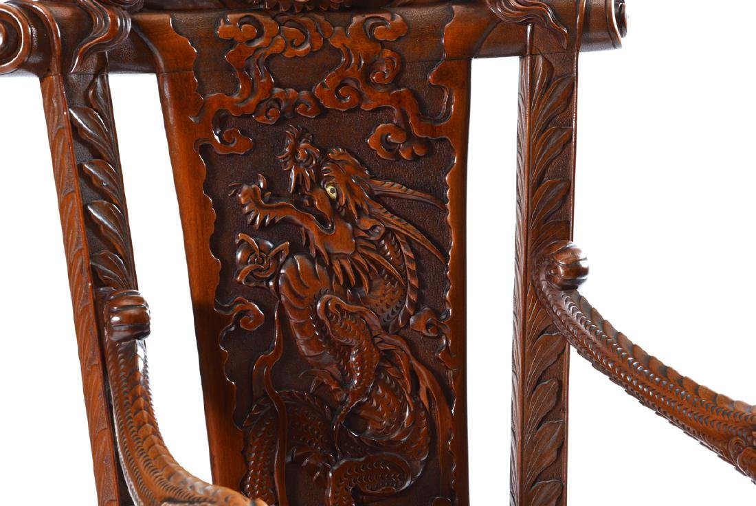 Japanese Tomekichi Suzuki carved dragon chair - 3
