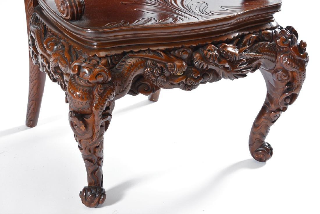 Japanese Tomekichi Suzuki carved dragon chair - 5
