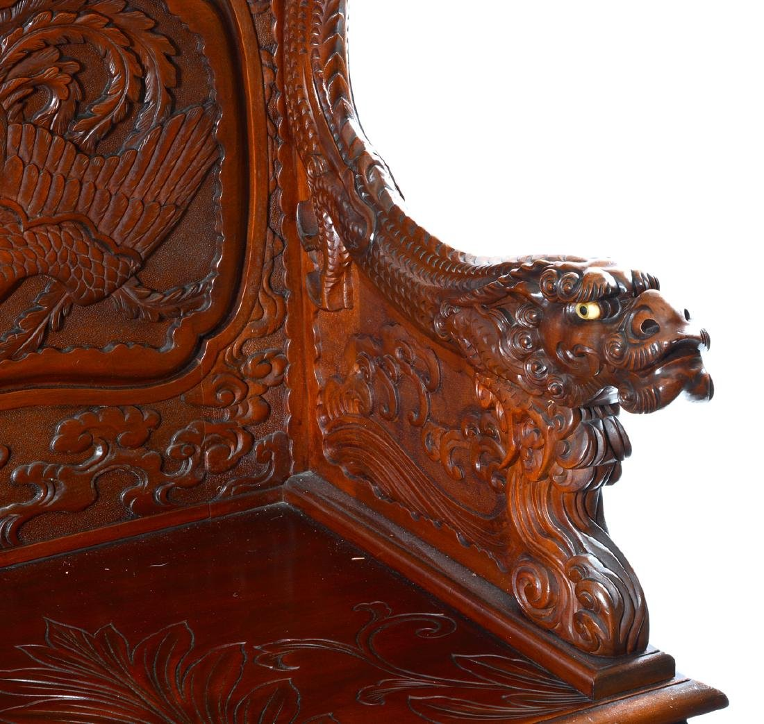 Japanese Tomekichi Suzuki carved dragon & phoenix bench - 2