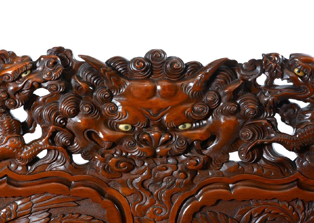 Japanese Tomekichi Suzuki carved dragon & phoenix bench - 3