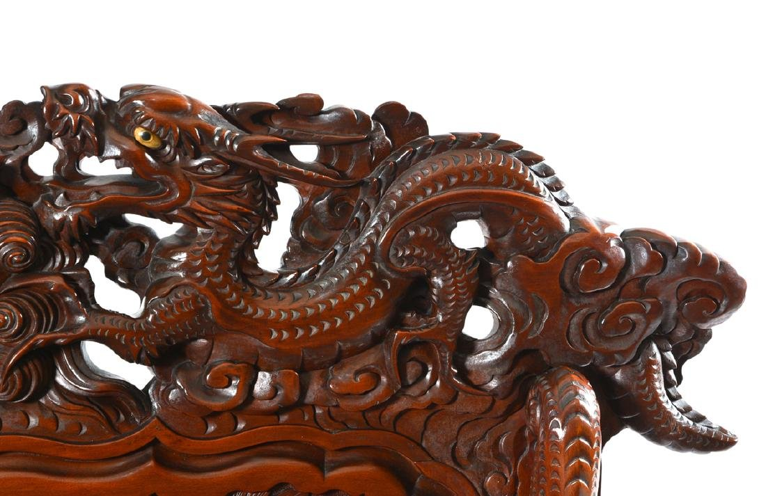 Japanese Tomekichi Suzuki carved dragon & phoenix bench - 4