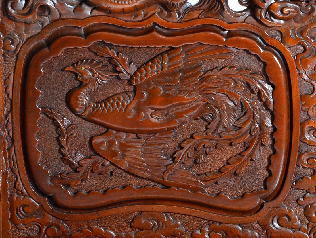 Japanese Tomekichi Suzuki carved dragon & phoenix bench - 7