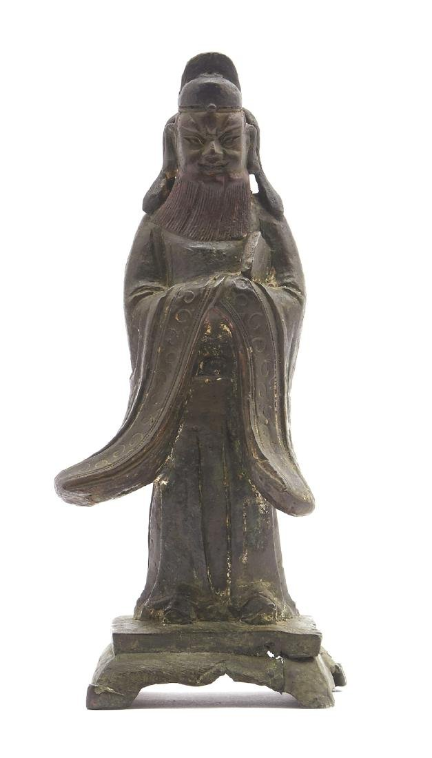 """Chinese bronze standing figure of a scholar, 11 1/4""""t"""