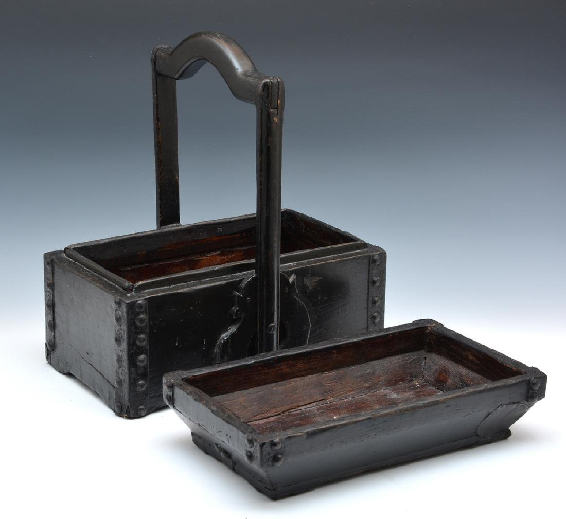 Wooden chinese food box with metal bindings - 2