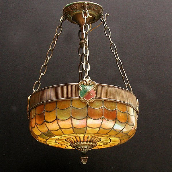 2: Hanging lamp, luminescent stained glass shade