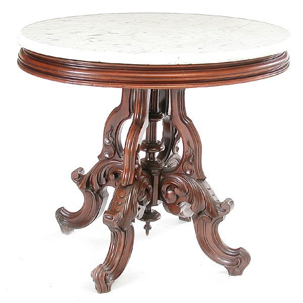 4: Victorian Walnut Marble Top Parlor Table
