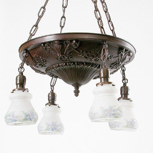 9: Four light brass chandelier original finish, c 1910