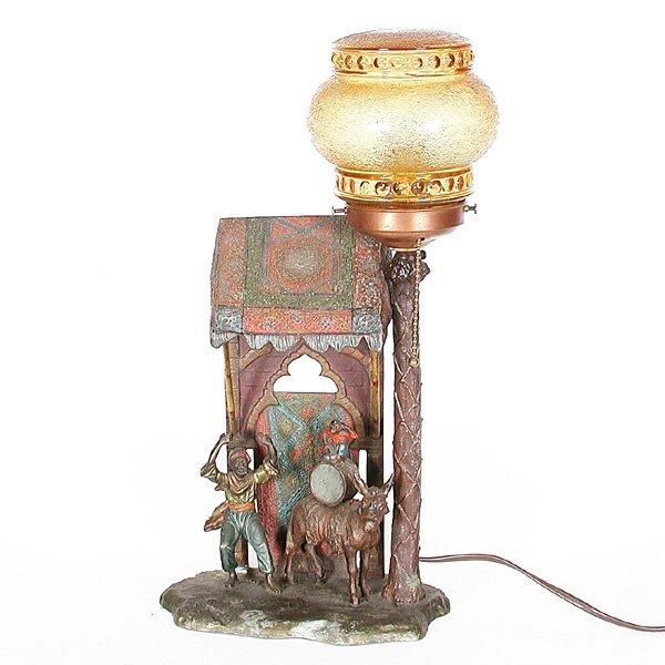 15: Austrian Cold Painted Figural Lamp, Rug Merchant