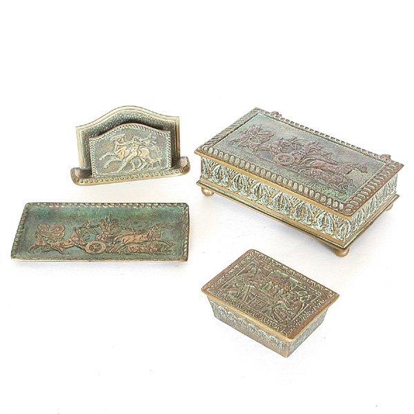 17: M. Le Verrier 4 Piece Bronze Desk Set