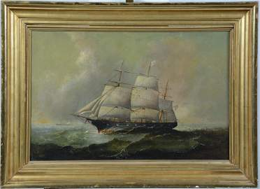 """Charles Dyer Shed, American Ship """"Affghan"""", oil/canvas"""