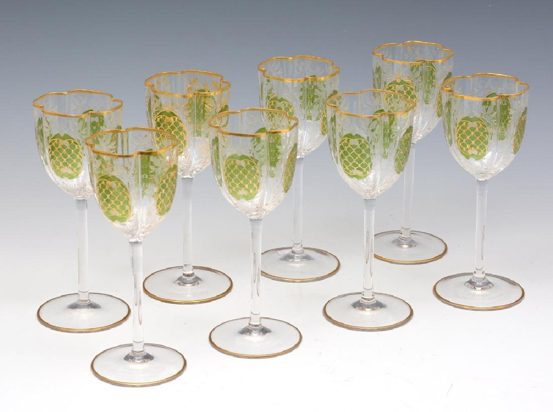 8 Moser Tall Stem Crystal Wine Glasses, 7 3/4\