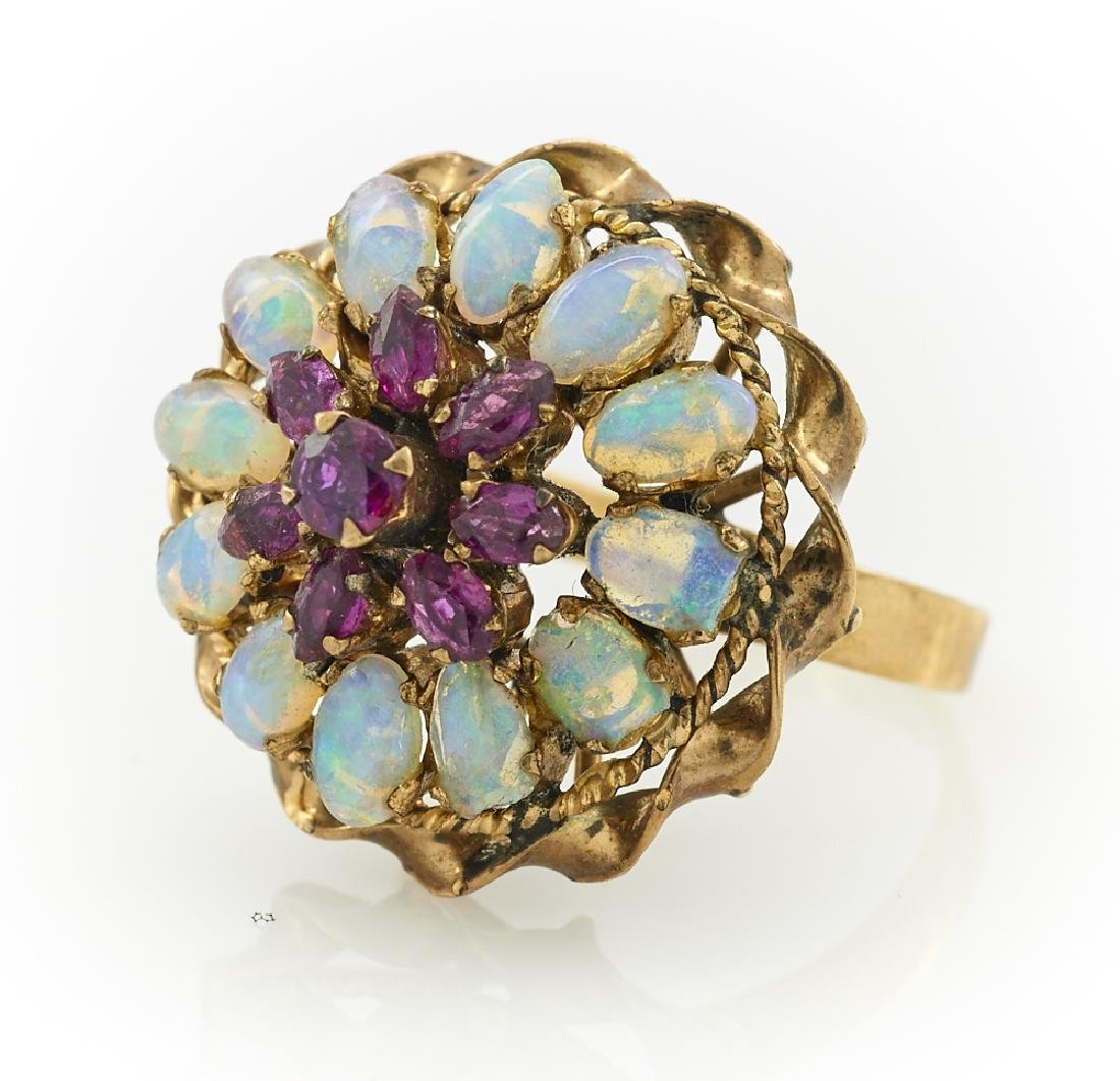 14k gold, opal & ruby cocktail ring