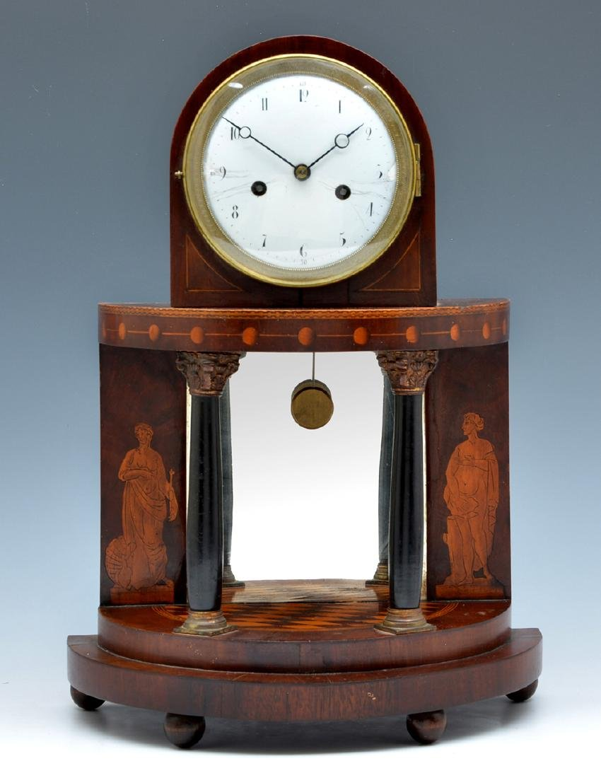 Steeple top and Demilune Mahogany Mantle Clock