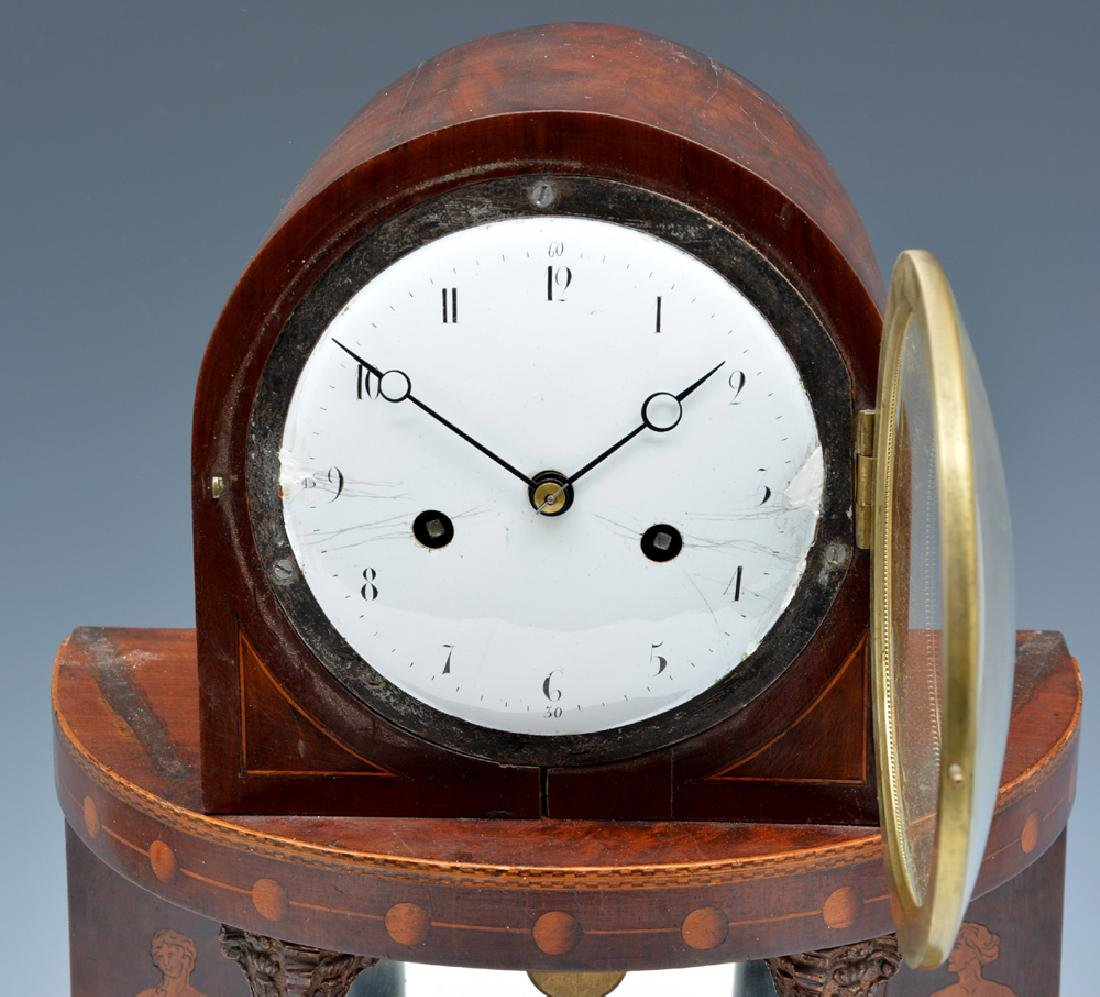 Steeple top and Demilune Mahogany Mantle Clock - 2