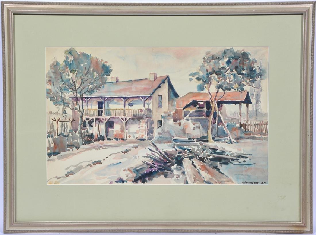E. Lamson, Southern Farmhouse, Watercolor