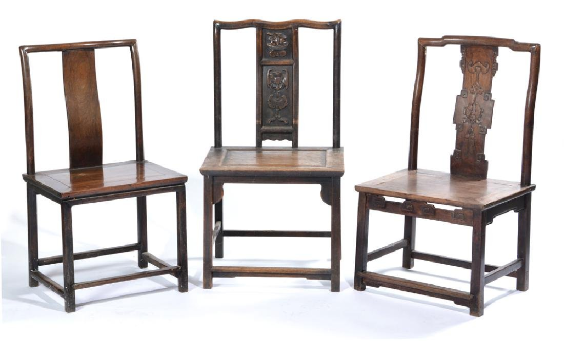 3 Chinese side chairs, 2 with carved backs
