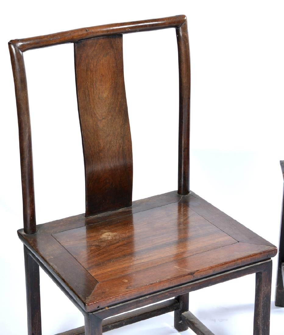 3 Chinese side chairs, 2 with carved backs - 5