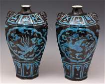 Pair Chinese Fahua octagonal meiping vases 13 12t